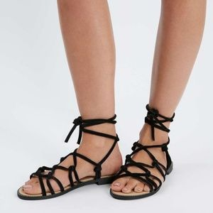 Topshop 9 FUNFAIR Black Knotted Sandals Gladiator